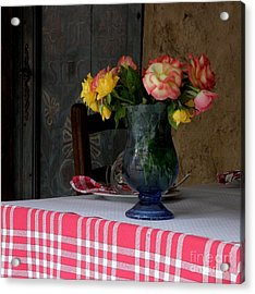 Acrylic Print featuring the photograph Roses In Blue Glass Vase by Lainie Wrightson