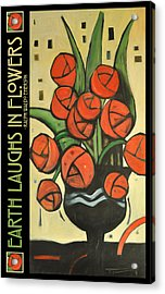 Roses In Vase Poster Acrylic Print by Tim Nyberg