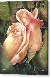 Acrylic Print featuring the painting Rosey Embrace by Nancy Tilles