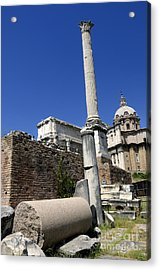 Rostra. Column Of Phocas And Septimius Severus Arch In The Roman Forum. Rome Acrylic Print