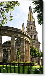 Rotunda Of Illustrious Jalisciences And Guadalajara Cathedral Acrylic Print