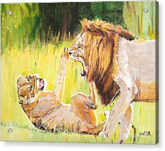Rough Play Acrylic Print by Judy Kay