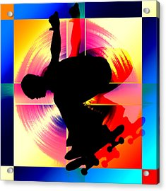 Round Peg In Square Hole Skateboarder Acrylic Print by Elaine Plesser