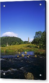 Round Tower And River In The Forest Acrylic Print by The Irish Image Collection