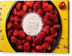 Round Tray Of Strawberries  Acrylic Print by Garry Gay