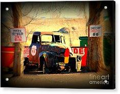 Route 66 Parking Lot Acrylic Print by Susanne Van Hulst