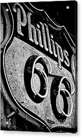 Route 66 Sign Black And White Acrylic Print by Hideaki Sakurai