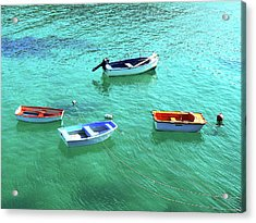 Row Boats On Turquoise Water Acrylic Print by Leniners
