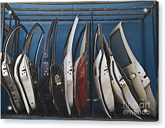 Row Of Dismantled Car Doors Acrylic Print by Noam Armonn