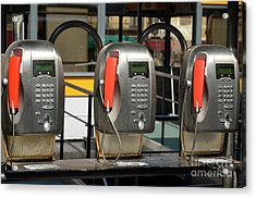 Row Of Pay Phones In Venice Acrylic Print by Sami Sarkis