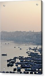 Rowing Boats On Ganges River Acrylic Print by Jessica Solomatenko