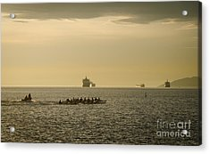 Rowing Training Off Sunset Beach Park False Creek Vancouver Bc Canada Acrylic Print by Andy Smy
