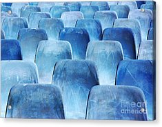 Rows Of Blue Chairs Acrylic Print by Carlos Caetano