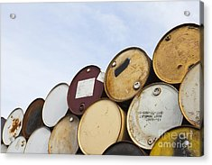 Rows Of Stacked Barrels Acrylic Print by Paul Edmondson