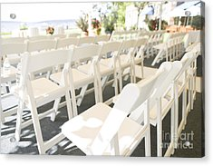Rows Of White Folding Chairs Acrylic Print by Ned Frisk