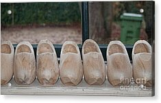 Acrylic Print featuring the digital art Rows Of Wooden Shoes by Carol Ailles
