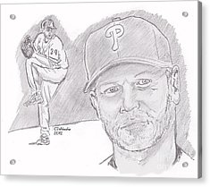 Acrylic Print featuring the drawing Roy Halladay by Chris  DelVecchio