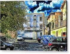 Roya Valley Breil Sur Roya The Blue House Acrylic Print by Enrico Pelos