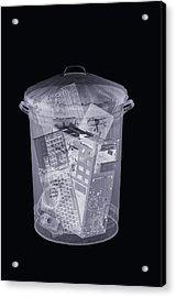 Rubbish Bin, Simulated X-ray Acrylic Print by Mark Sykes