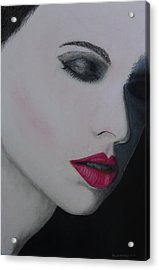 Ruby Lips Acrylic Print by David Hawkes