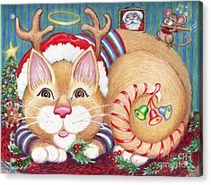 Acrylic Print featuring the drawing Rudolph The Pink Nosed Dear Cat by Dee Davis