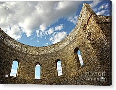 Ruin Wall With Windows Of An Old Church  Acrylic Print by Sandra Cunningham