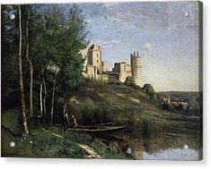 Ruins Of The Chateau De Pierrefonds Acrylic Print by Jean Baptiste Camille Corot