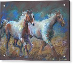 Acrylic Print featuring the painting Running Free by Bonnie Goedecke