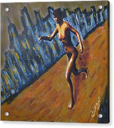 Running Nude Female Goddess On The Muddy Skyline Of Chicagos Lakefront Acrylic Print