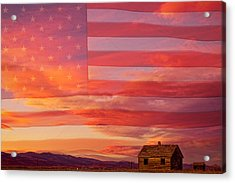 Rural Patriotic Little House On The Prairie Acrylic Print by James BO  Insogna