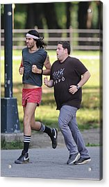 Russell Brand, Jonah Hill On Location Acrylic Print by Everett