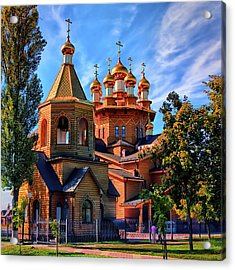 Russian Wooden Church Acrylic Print by Gennadiy Golovskoy