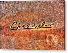 Rusted Antique Chevrolet Logo Acrylic Print by Dan Stone