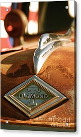 Rusted Antique Diamond Car Brand Ornament Acrylic Print by ELITE IMAGE photography By Chad McDermott