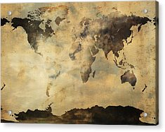 Rusted Metal World Map Acrylic Print by Stephen Walker