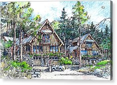 Acrylic Print featuring the drawing Rustic Cabins by Andrew Drozdowicz