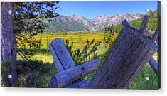 Rustic Moss Covered Pioneer Era Fence In Olympic Valley California Acrylic Print by Scott McGuire