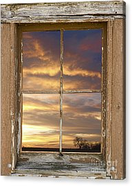 Rustic Window Colorful Sky View Acrylic Print