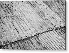 Rusting Repaired Corrugated Iron Roof Sheeting In Edinburgh Acrylic Print by Joe Fox