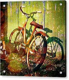 Rusty Bikes Acrylic Print by Sonja Quintero
