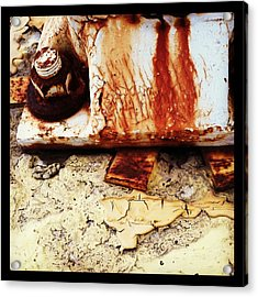 Rusty Bolt Abstraction Acrylic Print by Anna Villarreal Garbis