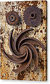 Rusty Gears Acrylic Print by Garry Gay