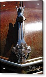 Rusty Old 1935 International Truck Hood Ornament. 7d15502 Acrylic Print by Wingsdomain Art and Photography