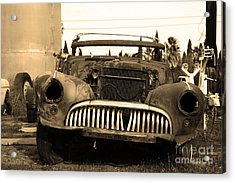 Rusty Old American Car . 7d10343 . Sepia Acrylic Print by Wingsdomain Art and Photography