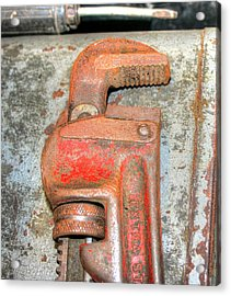 Rusty Pipe Wrench Acrylic Print by Ester  Rogers