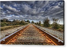Rusty Rail Line And Fog Clouds Acrylic Print by Lachlan Kay