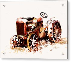 Rusty Tractor In The Snow Acrylic Print