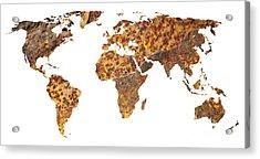 Rusty World Map Acrylic Print by Tony Cordoza