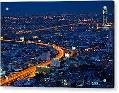 S Curve At Bangkok City Night Scene Acrylic Print by Arthit Somsakul