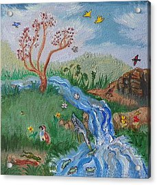 S Is For Stream Detail From Childhood Quilt Painting Acrylic Print